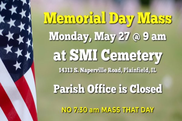 Memorial Day — Mass and Office Closure