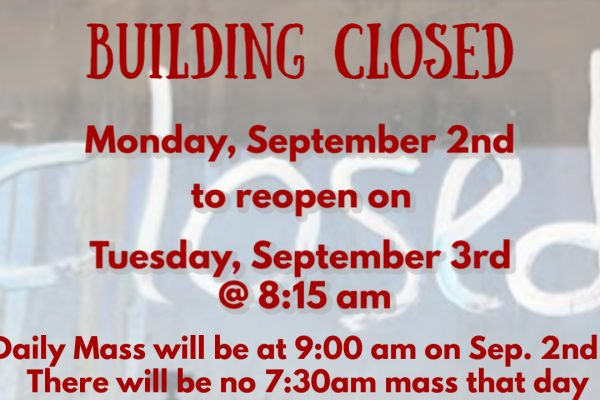 Labor Day Mass/Parish Offices Closed